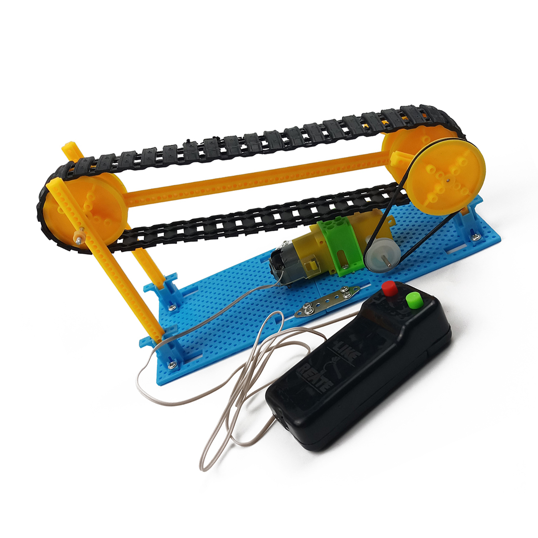 DIY Wire Control Wooden Electric Conveyor Transporter Belt Model Steam Toy Physics Science Education Toy Assembled Materials Kit