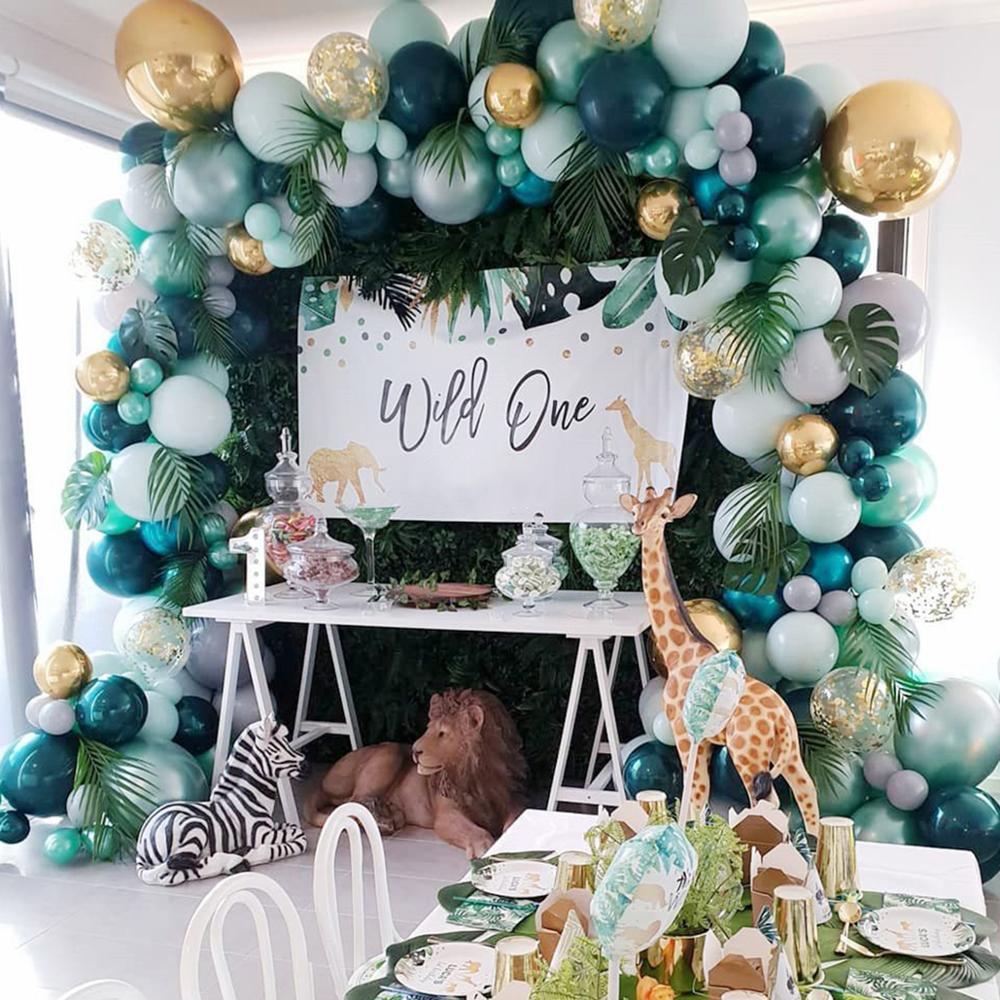 FENGRISE 167 шт. зеленые воздушные шары, гирлянда, украшения для вечеринки в честь Дня Рождения, Детские зеркальные латексные воздушные шары, Дика...