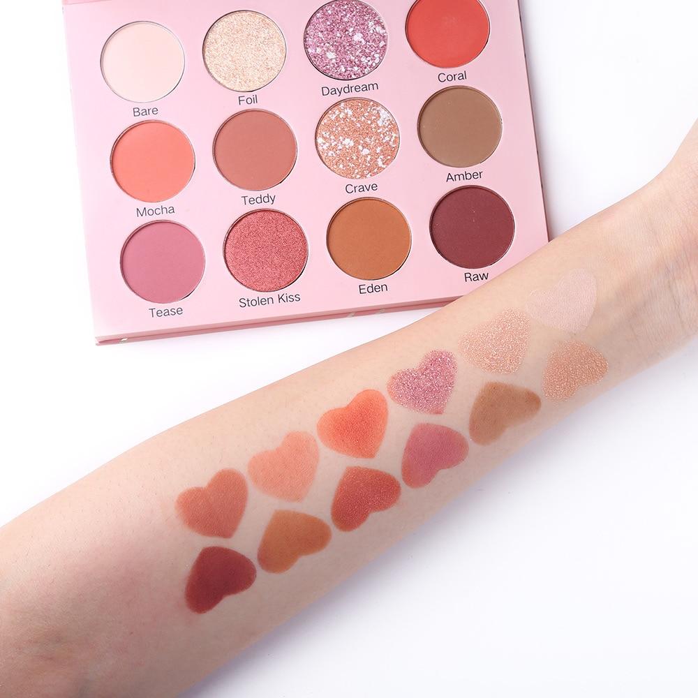 UCANBE Valentine Nude Eye Shadow Palette 12 Color Eyeshadow Shimmer Matte Glitter Waterproof Paleta De Sombra Makeup Pallete in Eye Shadow from Beauty Health