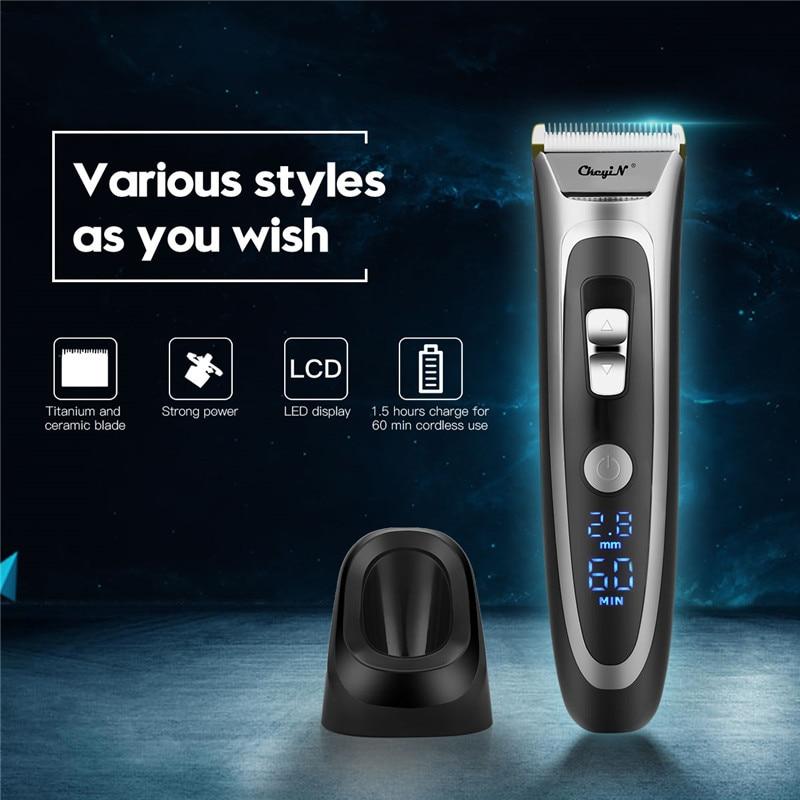 Professional Hair Clipper Men Rechargeable Electric Hair Trimmer Cordless Hair Cutting Ceramic Blade LCD Display Haircut Machine