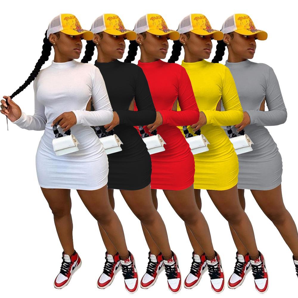 Herbst Frauen Kleid Backless Langarm Mini Kleider Party Night Clubwear Soild 5 Farbe vestidos