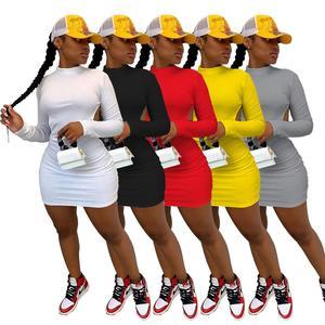Jesień kobiety sukienka bez pleców, długa rękaw Mini sukienki nocna impreza klubowa Soild 5 kolorów vestidos