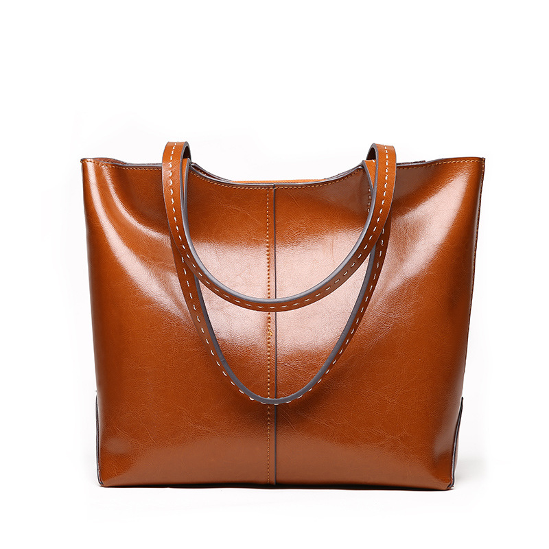 100% Genuine Leather Fashion Women Shoulder Bag Retro Brown Tote Handbag Large Capacity Lady Shopping Bag Black Grey