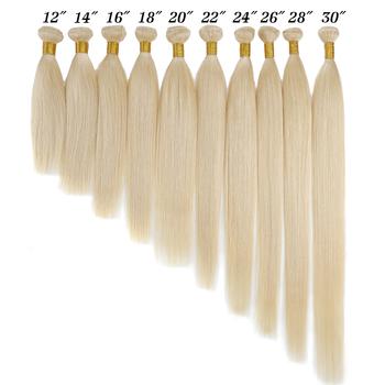 BHF blond proste włosy ludzkie wyplata 100 europejski Remy naturalne ludzkie włosy doczepiane 613 #100g tanie i dobre opinie CN (pochodzenie) Włosy remy Hair Weft 001 Straight Human hair weft European Remy hair