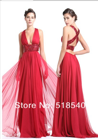Robe De Soiree 2018 Backless Vestido De Festa Longo Red Long Crystal Beading Evening Party Prom Gown Mother Of The Bride Dresses