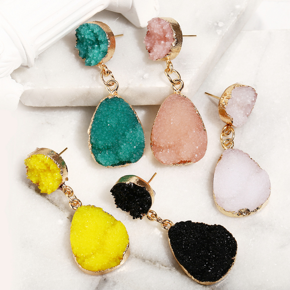Korean Druzy Stone Earrings For Women Multicolor Crystal Resin Dangle Earring Water Drop Eardrop Wedding Female Jewelry