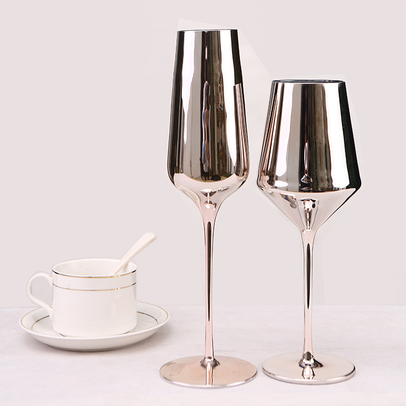350ml pink rose gold plating lead-free glass red wine glass champagne glass goblet home decoration