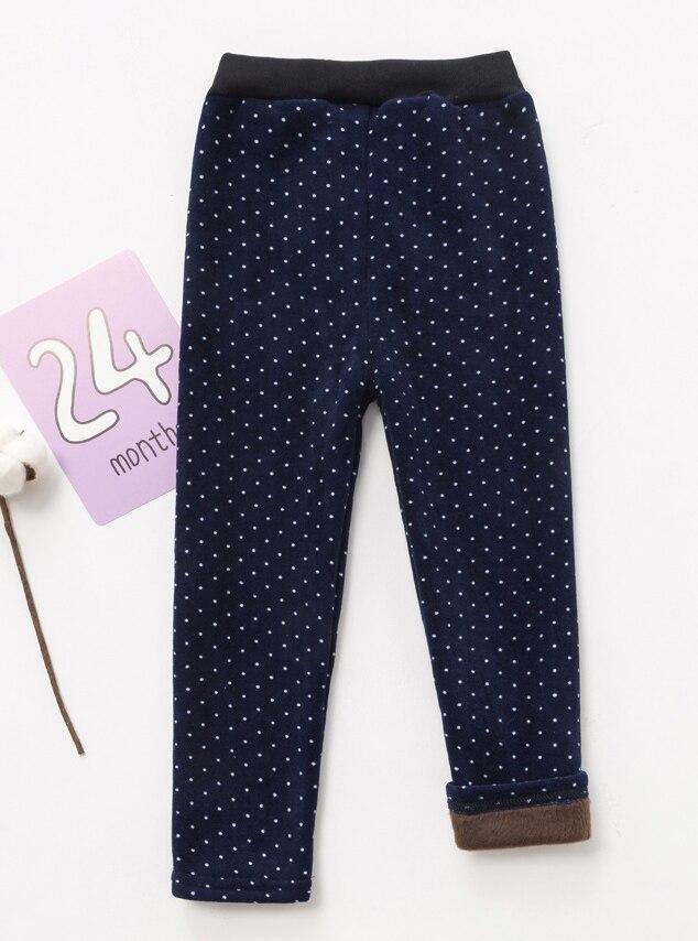 VEENIBEAR/осенне-зимние штаны для девочек, бархатные плотные теплые леггинсы для девочек, детские штаны, одежда для девочек на зиму, От 2 до 7 лет - Цвет: navy dot