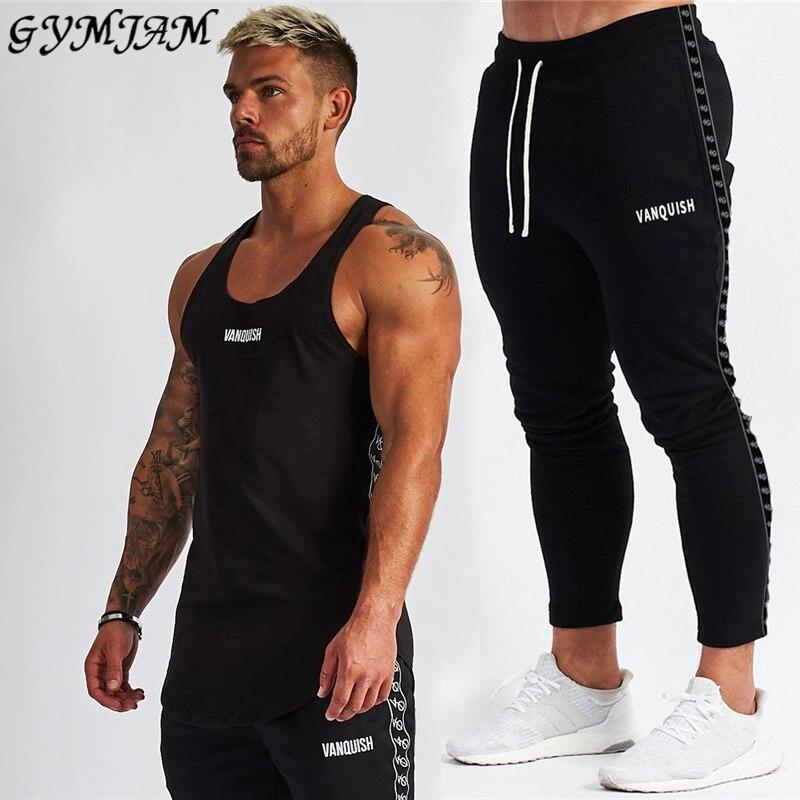 2020 New Men's Suit Fashion Sportswear Jogger Outdoor Fitness Men's Clothing Cotton Men's Vest With Men's Trousers