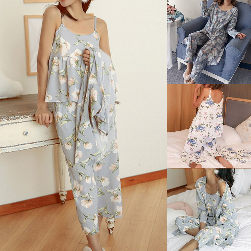 Women Pajamas 3 Pieces Satin Sleepwear Pijama Silk Home Wear Home Clothing Embroidery Sleep Lounge Pyjama Pyjamas Set
