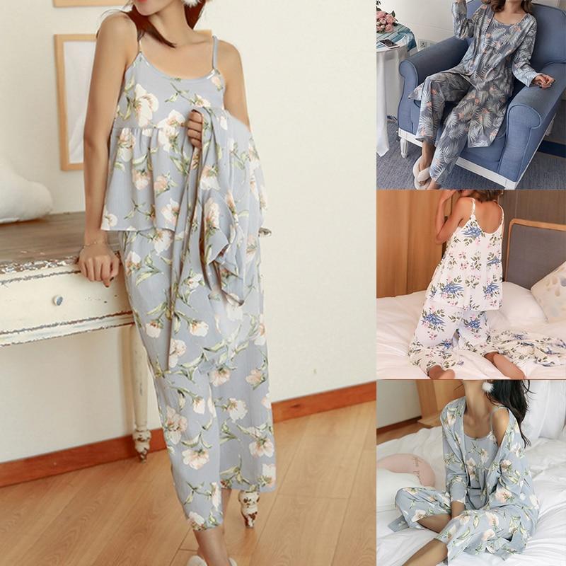 Women Pajamas 3 Pieces Satin Sleepwear Pijama Silk Home Wear Home Clothing Embroidery Sleep Lounge Pyjama Pyjamas Set