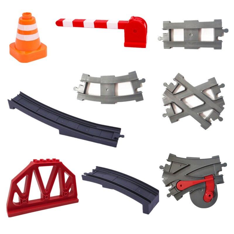 Duploed Bricks Train Tracks Accessories Traffic Light Bridge Building Blocks Railway Toys For Children Kids  Educational Gift