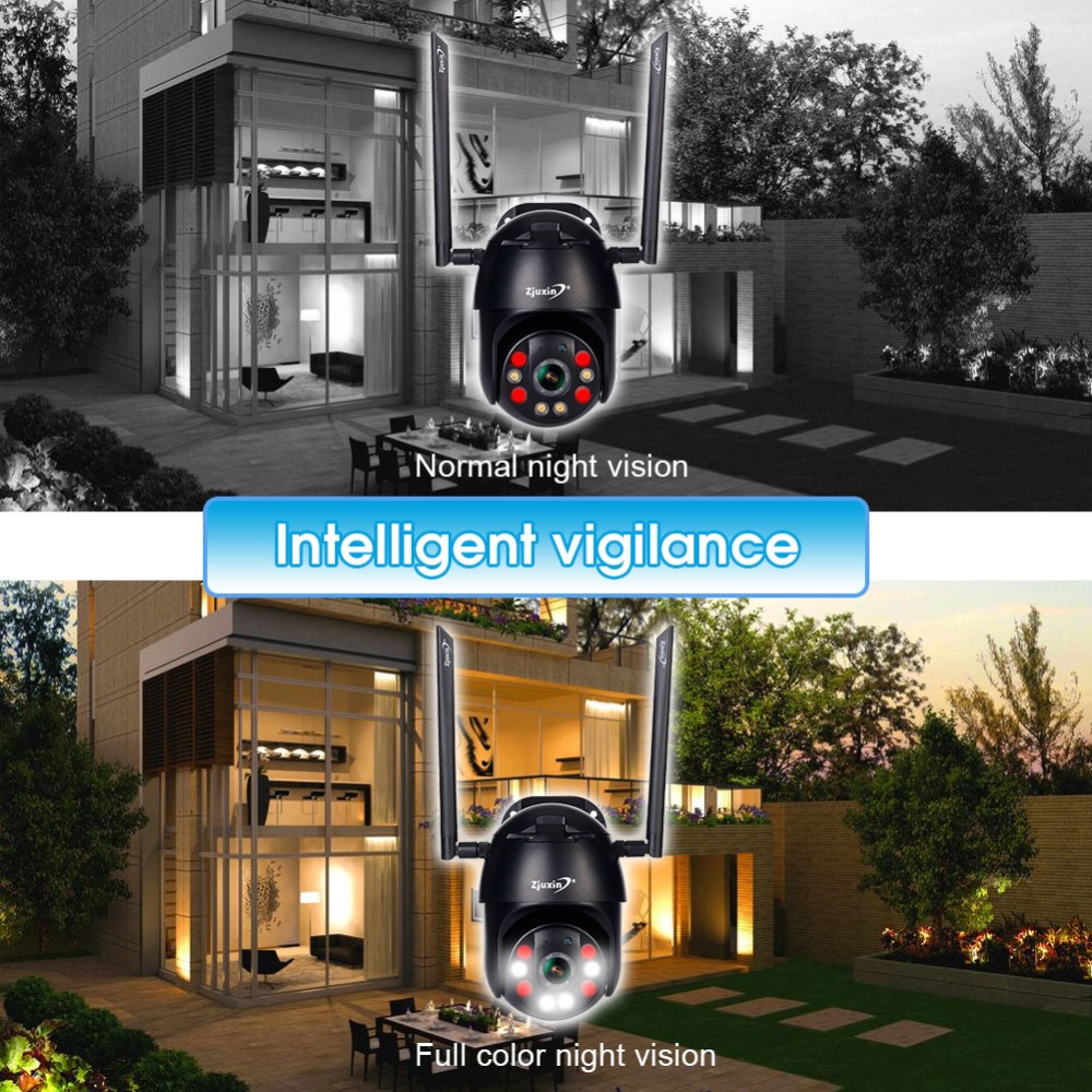 H75544329c9a2417ba8967dc7a4d65922l Zjuxin PTZ IP Camera WiFi HD1080P Wireless Wired PTZ Outdoor CCTV Security Camra Double light human detection AI cloud camera