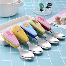 baby Feeding Spoon Fork Set Stainless Steel Toddler Infant Tableware Flatware Kids Cutlery with -Dust Box