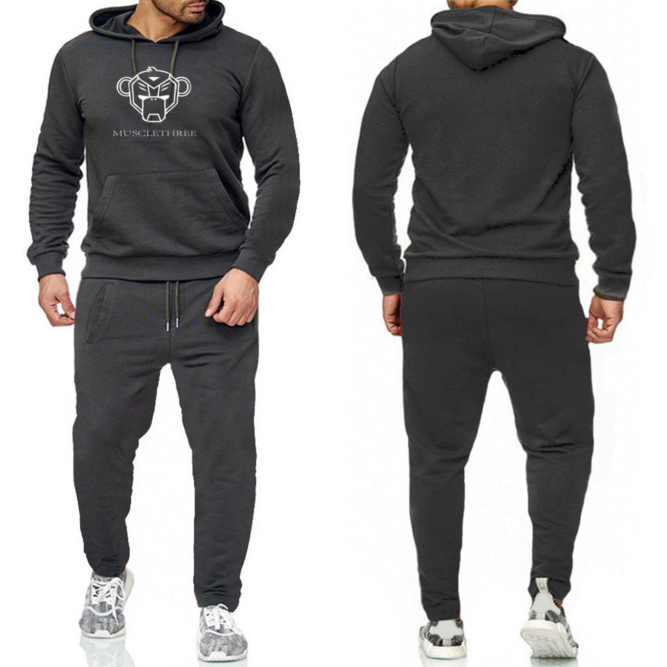 Hoodie Suit Men Autumn New Products 2019 Casual Autumn Large Size New Style Printed Sports Clothing Two-Piece Set Men