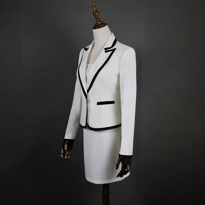2019 autumn banquet dress women's suit solid color button skirt deep V-neck long sleeve elegant slim tight work skirt