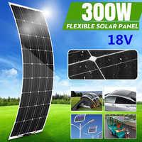 portatil Cargador de Panel Solar semiflexible de 300W, 18V, recubrimiento PTE, Kit completo para Camping, coche, RV, barco, teléfono inteligente cargador solar para telefono movil