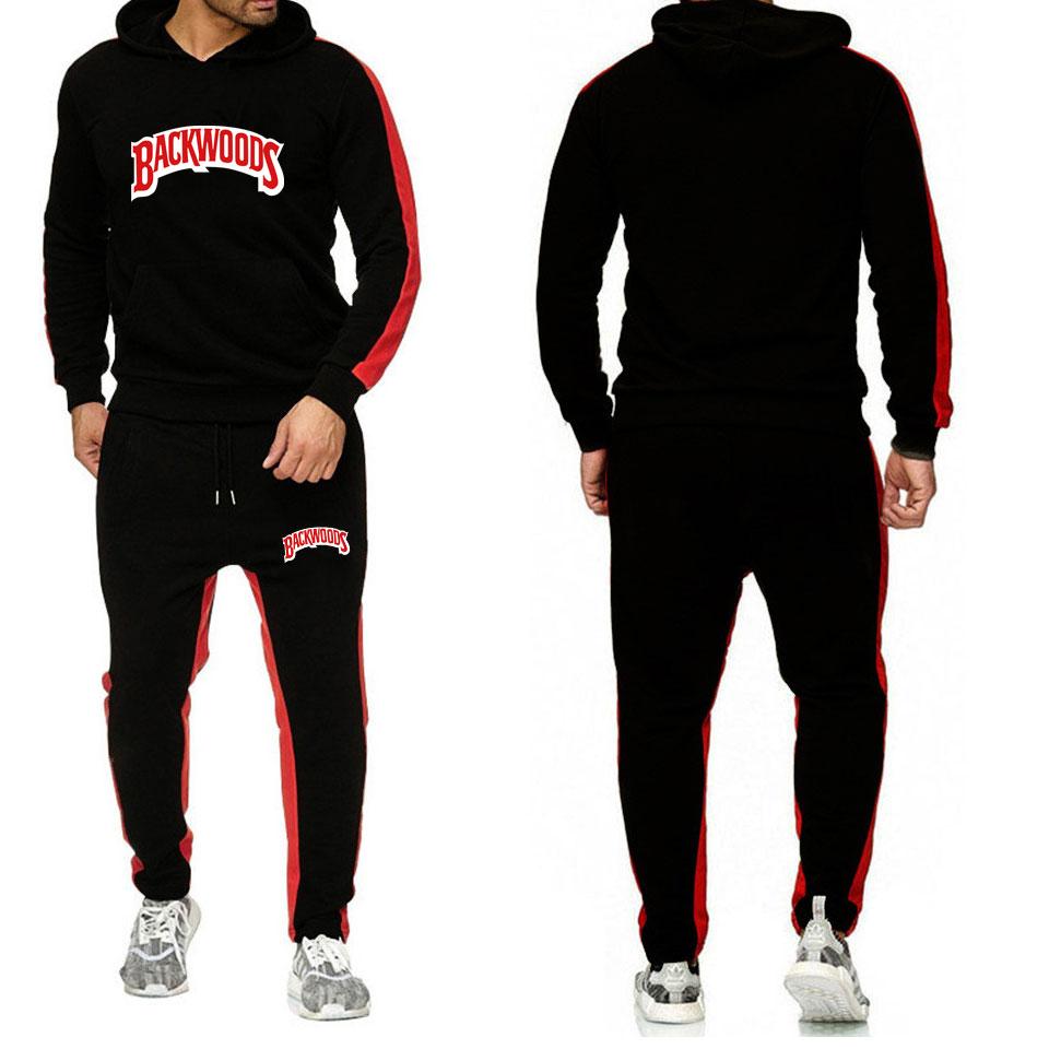 BACKWOODS Hoodies Sets Streetwear Fleece Hoodie Sweatshirt Men Women Tracksuit Homme Sweatpants Suit Casual Hoodie And Pants