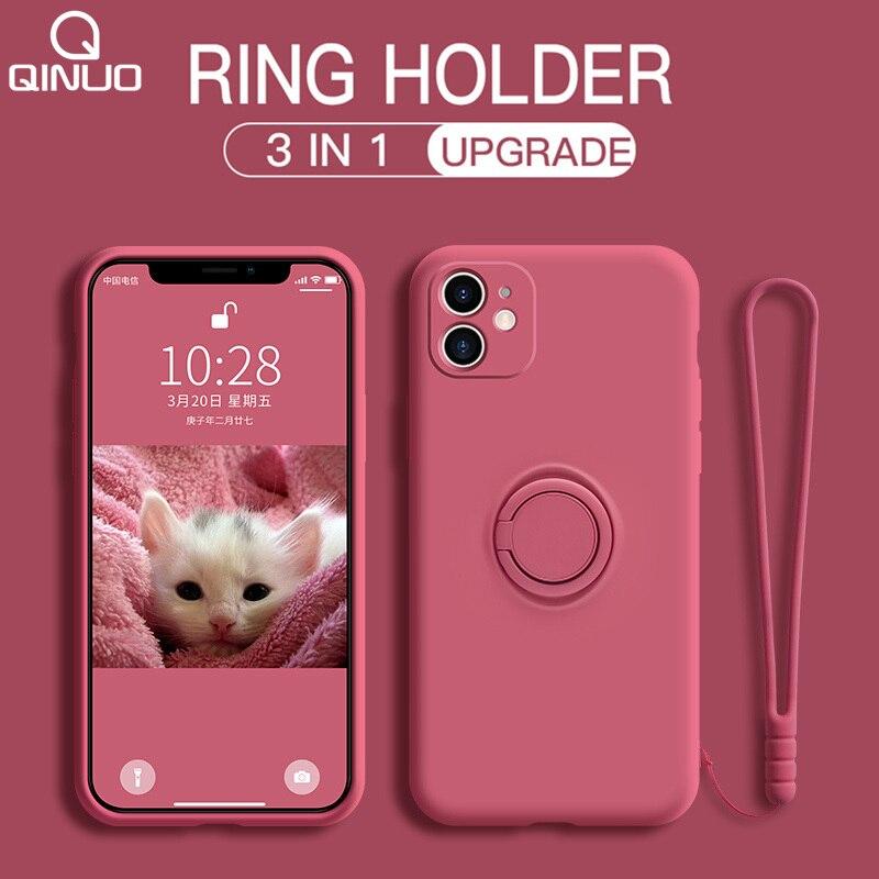 Soft Liquid Silicone Case For Xiaomi Redmi Note 9 8 7 Pro 9S 9A 9C K30 Mi 10 CC9 Pro 9 SE 8 Note 10 Lite Ring Holder Strap Cover(China)
