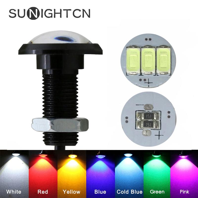SUNIGHTCN 1pcs Eagle Eye LED Car Light Daytime Running Lights DRL Car Parking Signal Lamp 12v 24v 18mm 23mm For Motorcycle Auto