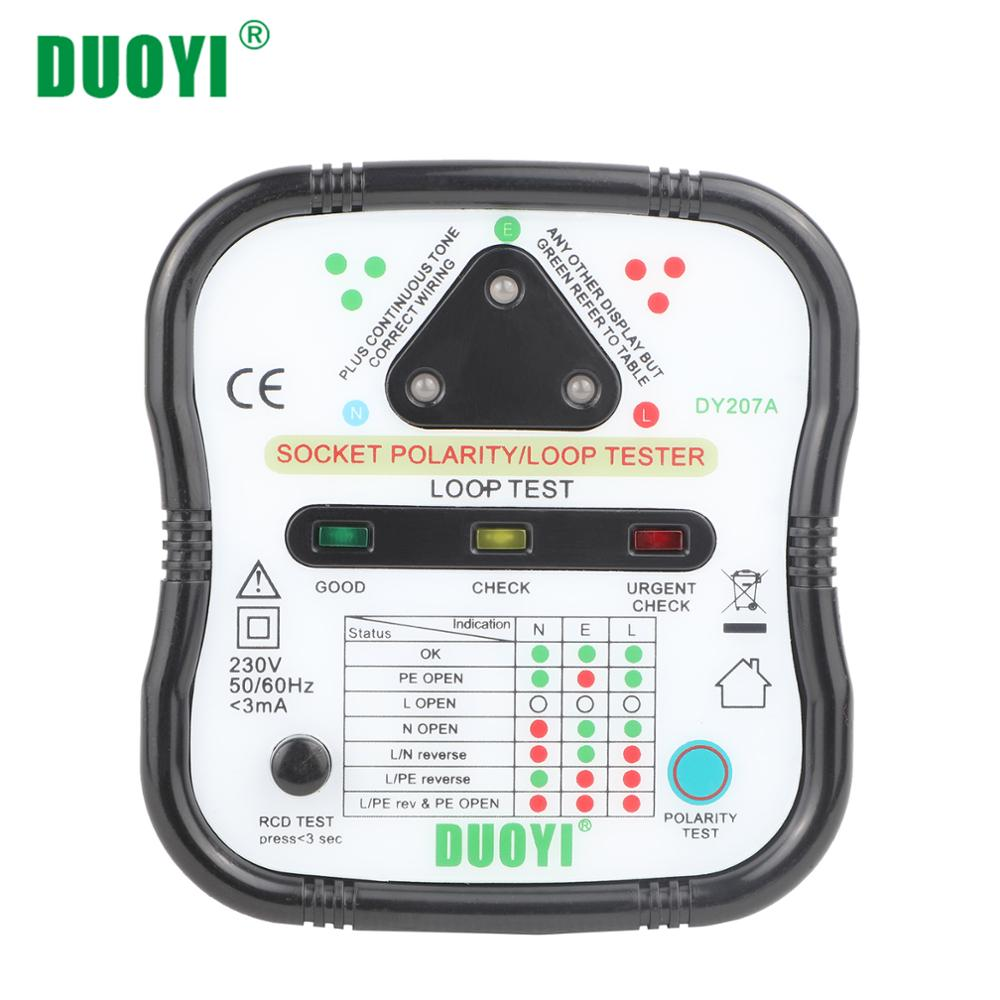 DUOYI DY207A Electric Socket Tester Automatic Wall Plug Breaker Finder Polarity RCD Test Phase Check Loop Test Detector EU/UK/US
