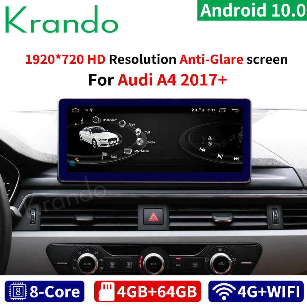 Krando Android 10.0 10.25 ''Ips 4 + 64G Anti-Glare Gps Auto Radio Audio Voor Audi A4 a4L B8 A5 2004-2008 2017-2020 Multimedia Speler