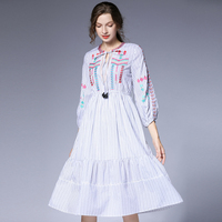 2019 New European and American Fashion Embroidery Pure Cotton Striped Barry Yarn Dress Round Collar Tie Lantern Sleeves