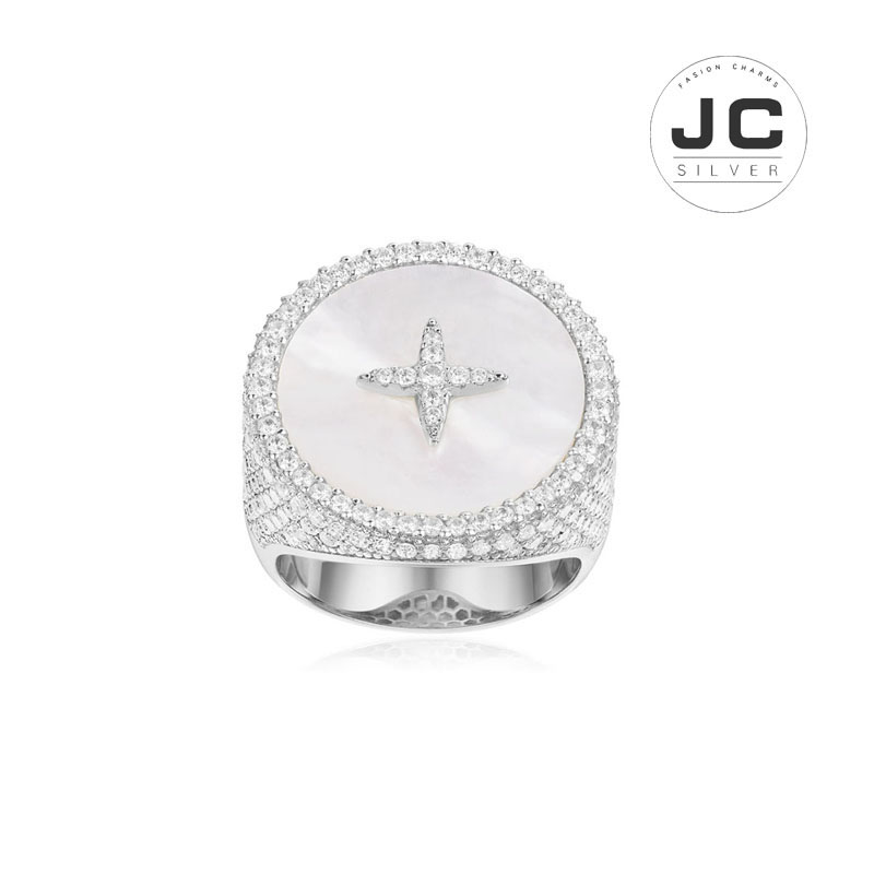 New Fashion Charms Silver 925 Original Engraving,Star Art Ring with Mother of Pearl For Women With Mono Logo New Year Gift