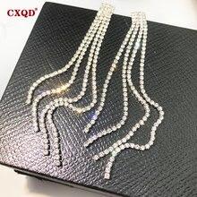 Cxqd модные блестящие стразы кристалл Длинная кисточка серьги