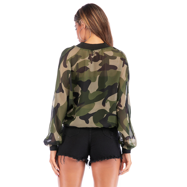 PGSD 2021 New Spring Summer Long sleeve zipper Sunscreen jacket Women clothes Casual holiday Loose camouflage thin coat female 3