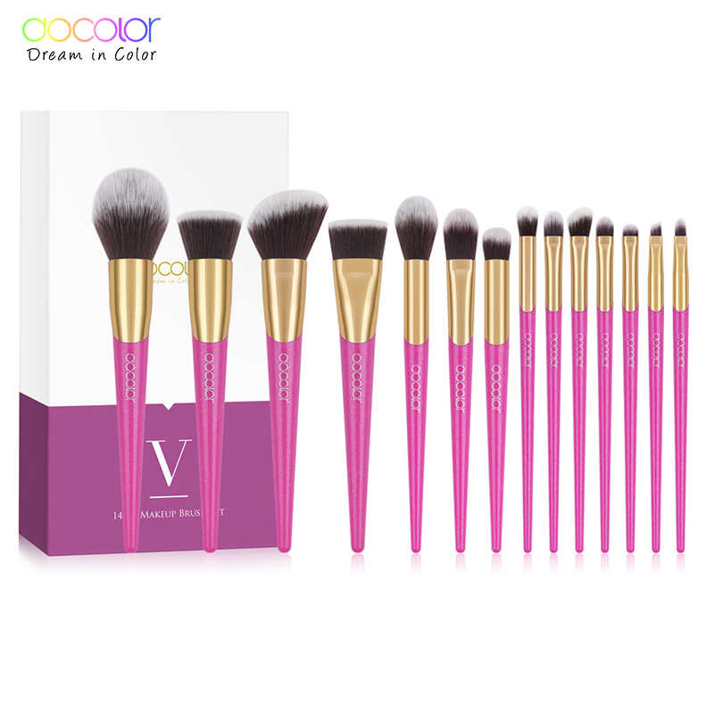 Docolor Make-Up Kwasten Set 14 Pcs Professionele Make Up Borstels Nieuwe Borstels Voor Gezicht Make-Up Foundation Poeder Oogschaduw Borstels