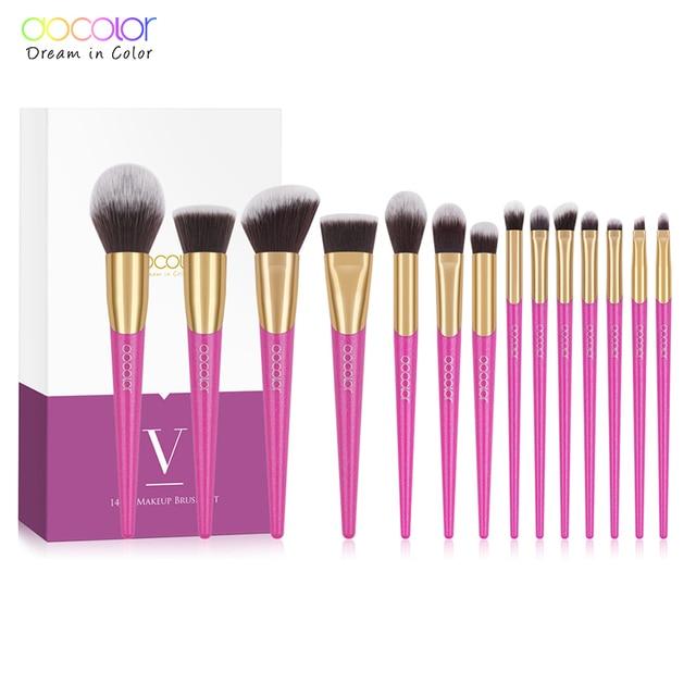 Docolor化粧ブラシセット 14 個professionalは新しいブラシフェイスメイクファンデーションパウダーブラシ