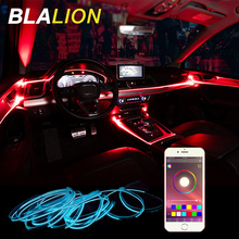 RGB المحيطة ضوء سيارة الداخلية مصباح لتهيئة الجو EL سلك Rgb النيون مصباح APP التحكم الصوتي 12 فولت السيارات الزخرفية ضوء السيارة الخلفية