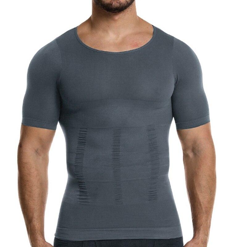 Утягивающее белье для мужчин, Однотонная футболка с коротким рукавом, для занятий животом, утягивающая Талия, дышащая сетчатая майка для ко...