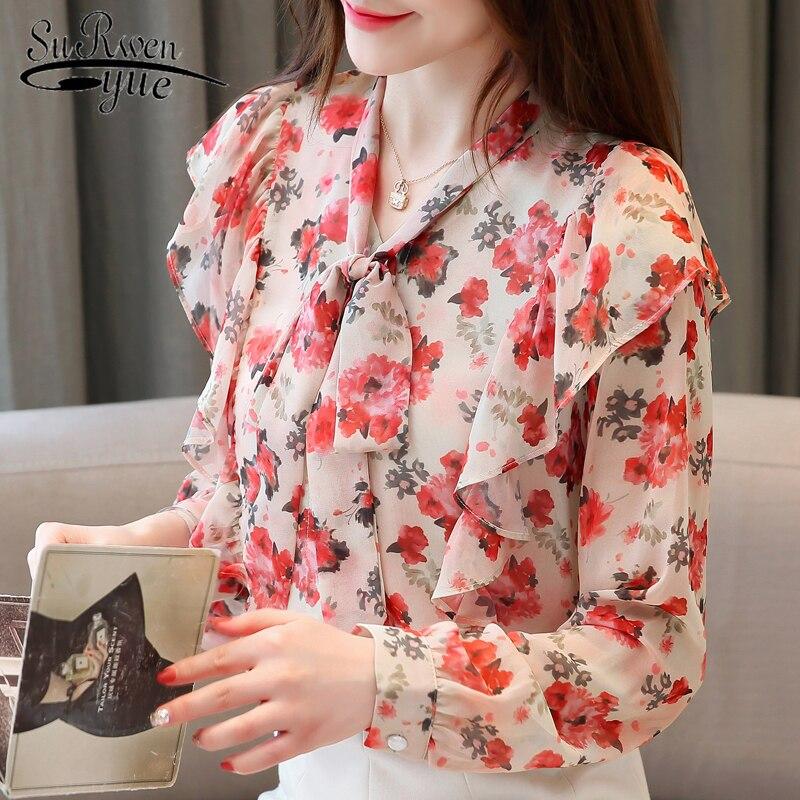 Korean Fashion Clothing New Arrival Long Sleeve Tops Elegant Print Bow Tops Blusas Mujer De Moda 2019 Loose Tops 6972 50