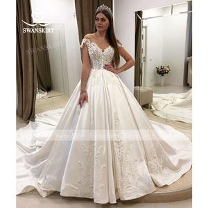 Image 5 - Luxury Beaded Princess Wedding Dress 2020 Sweetheart Crystal Appliques Satin Ball Gown Bridal Swanskirt F306 Vestido de noiva