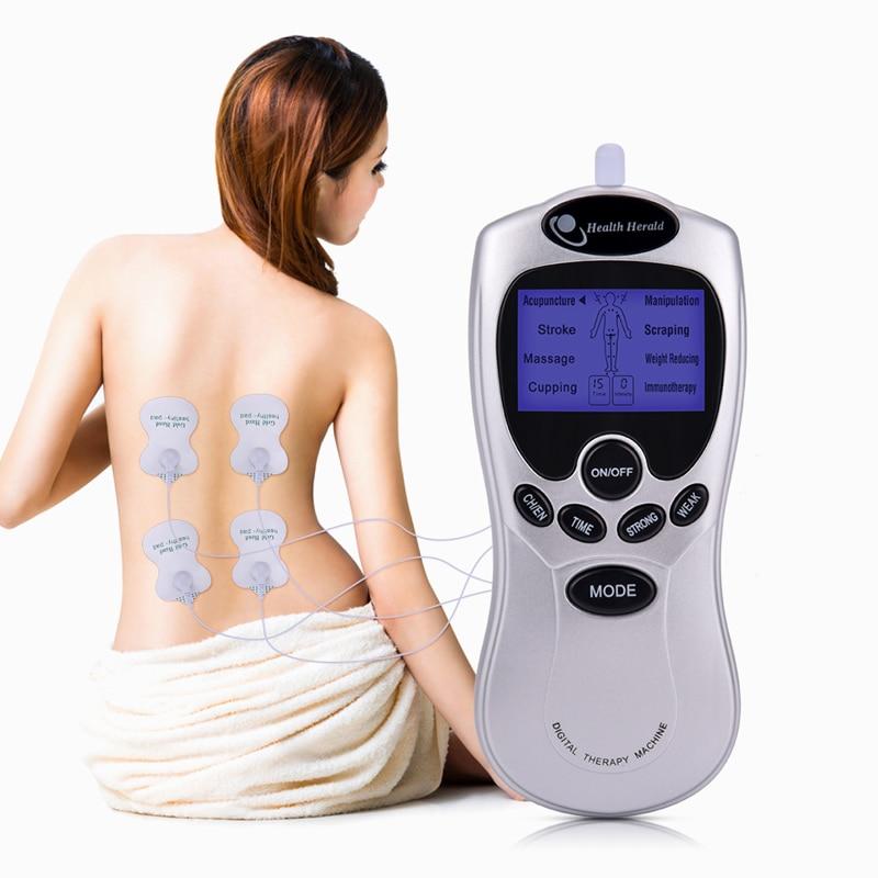 Elektrische herold Tens Akupunktur Körper Muscle Massager Digitale Therapie Maschine 4 Elektroden Für Hals Fuß Bein Gesundheit Pflege
