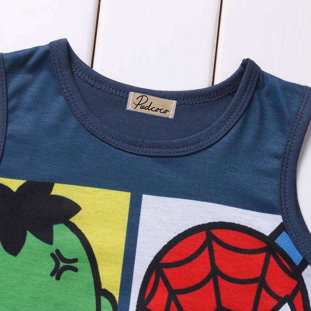 Newborn Summer Clothes Cartoon Print Spider-Man Iron Man Sleeveless Baby Boy Girl Romper Cotton Jumpsuit Clothing 0-24M 3