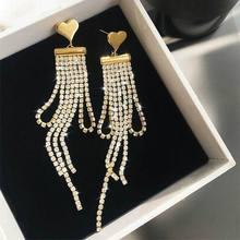 Luxury Rhinestone Tassel Earrings Women 2019 New Fashion Statement Heart Charm Long Drop Earrings Wholesale Gold-Color недорого