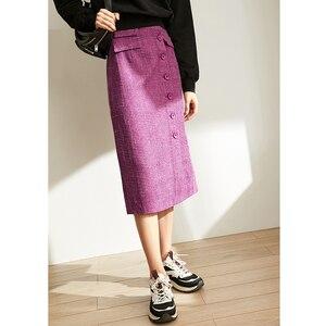 Image 3 - Amii Mùa Xuân Pháp Một Từ Nửa Váy Nữ Cao Cấp Kẻ Sọc Ngang Gối Váy 11920173