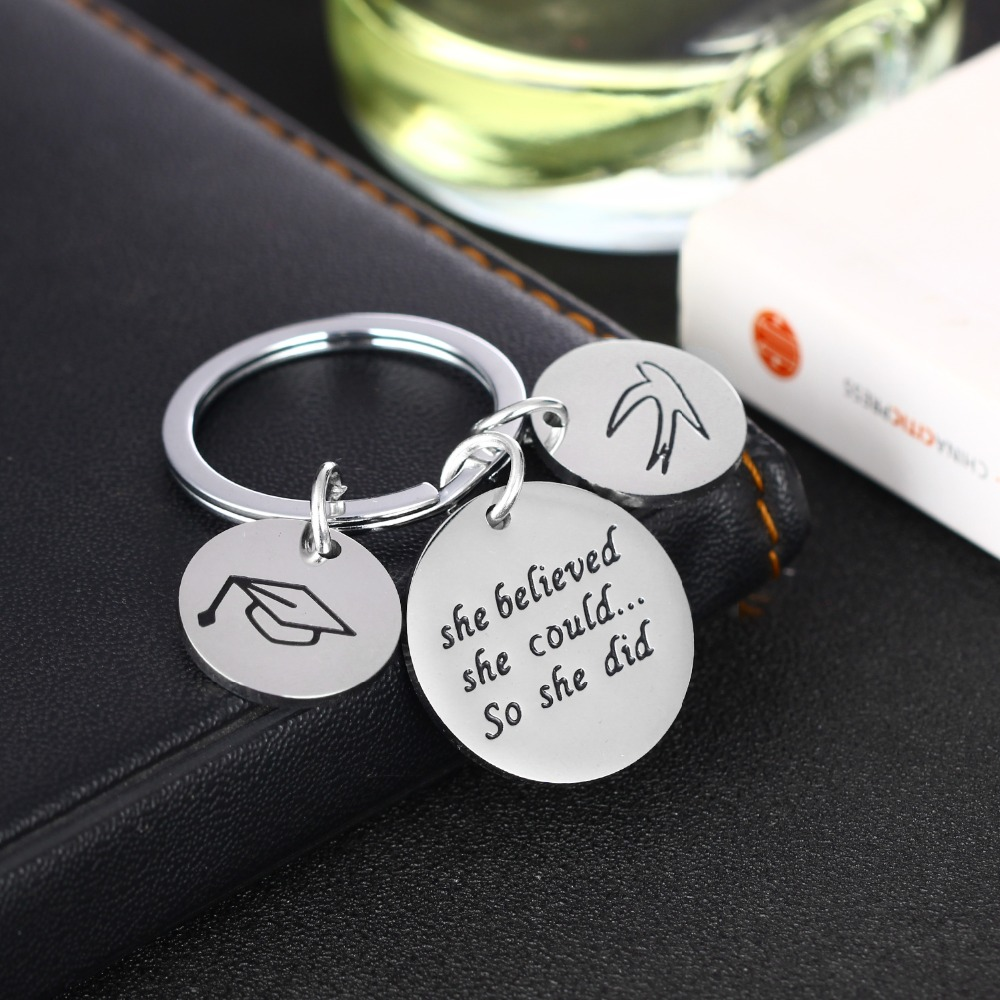She Believed She Could So She Did Graduation Gift Purple Key Ring Long Silver Keychain Letter Jewelry Dream Memorial Friend Gift,Q0173