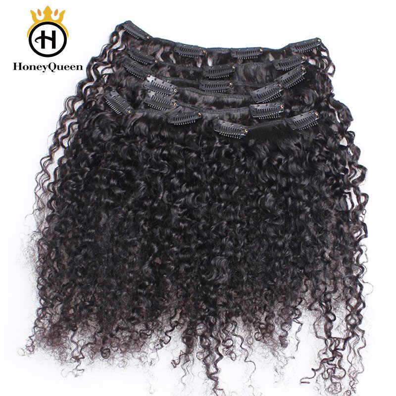 Mongolski perwersyjne kręcone klip Ins ludzki włos naturalny kolor 3B 3C klip w doczepy z ludzkich włosów 7 sztuk 120 gramów/zestaw miód królowa Remy