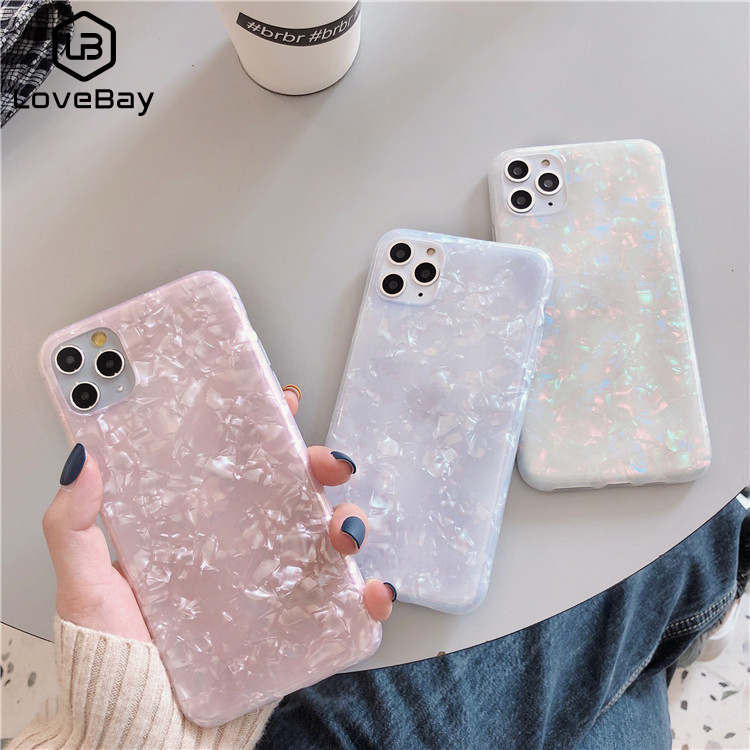 Lovebay Glitter Conch Bling Case For IPhone 11 Pro 6 6s 7 8 Plus X XR XS Max Lovely Soft TPU Silicone Solid Color Phone Cases