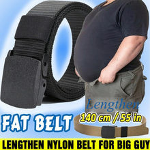 Cinturón de seguridad de talla grande para hombre, hebilla de lona larga, de nailon, sin Metal, vaquero