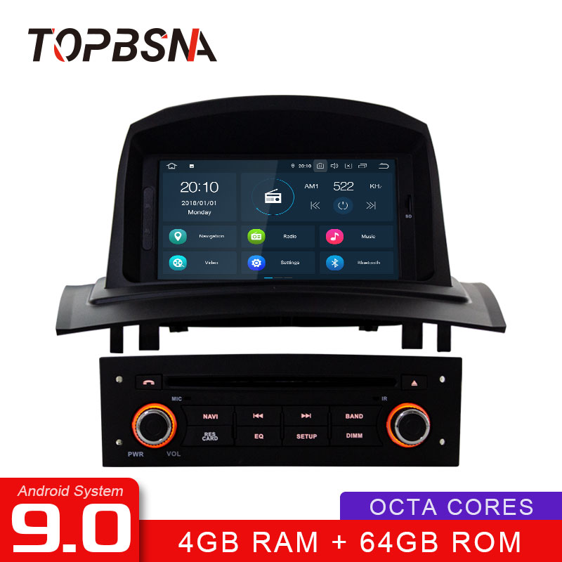 TOPBSNA Android 9.0 Car <font><b>DVD</b></font> Multimedia Player For <font><b>Megane</b></font> <font><b>2</b></font> Fluence 2002-2008 Auto <font><b>GPS</b></font> Navigation 1Din Car Radio Stereo RDS WIFI image