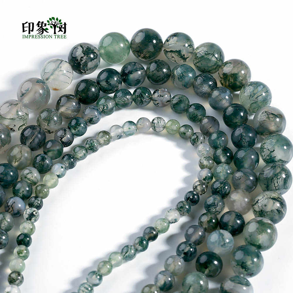 1 pcs Natural Stone 4/6/8/10/12mm Green Aquatic Grass Agates Beads Round Loose  Bead Pick Size DIY For Jewelry Making 21003