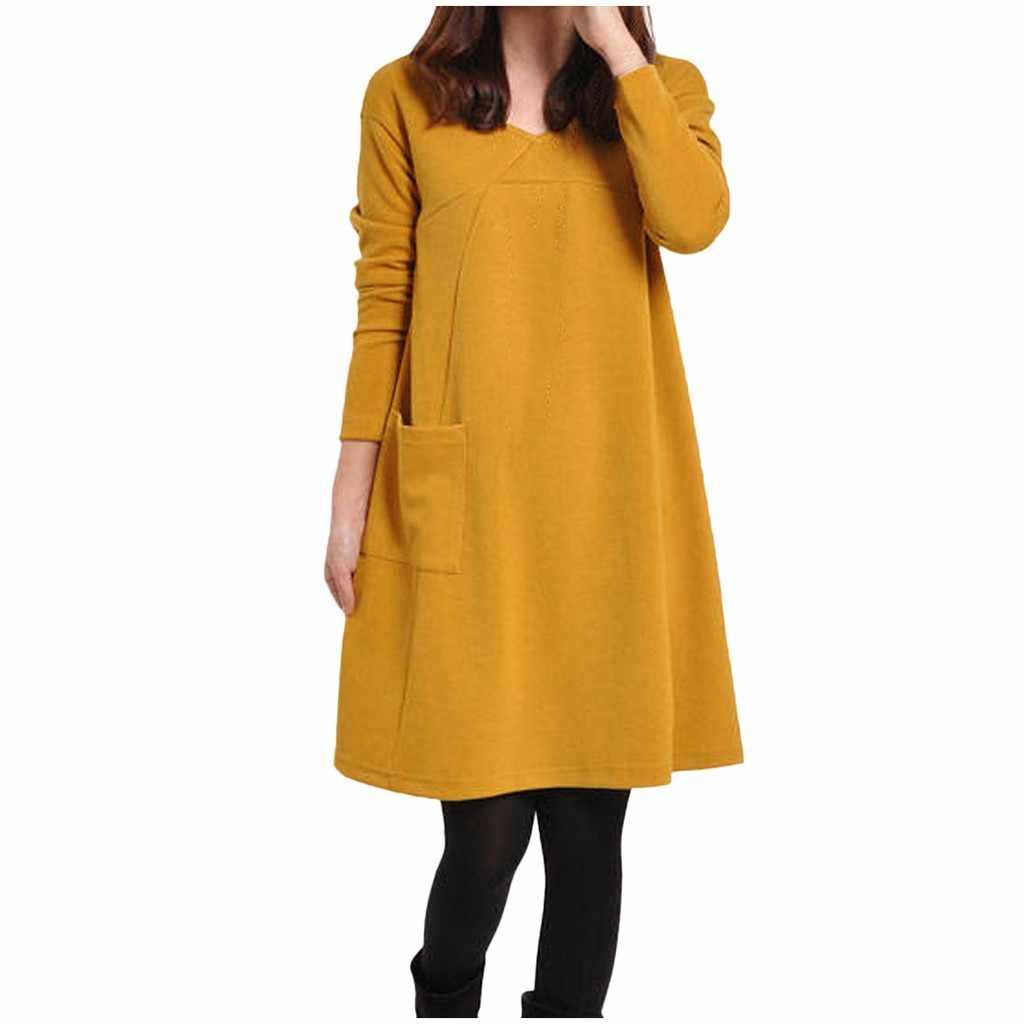 2019 الخريف الشتاء رداء الإناث قميص طويل الأكمام حجم كبير النساء فستان المدرسة جيوب الصلبة س الرقبة فستان فضفاض #20