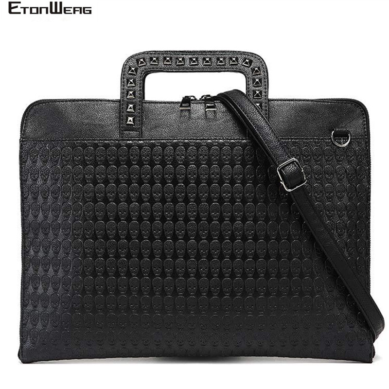 Designer Skull Rivet Briefcase Men Waterproof PU Leather Handbag Women Solid Black Messenger Bag Large Brand Vintage Tote Male