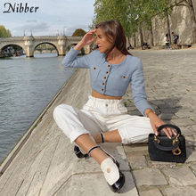 NIBBER elegante office lady solid Gebreide tops vrouwen high street slanke lange mouw crop top t-shirt2019autumn Harajuku casual jas(China)