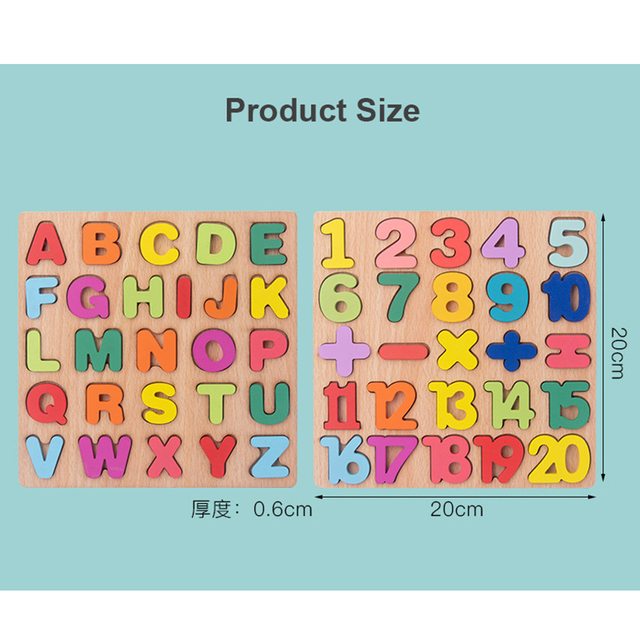 New Wooden 3D Puzzle Toy Kids English Alphabet Number Cognitive Matching Board Baby Early Educational Learning Toys for Children 6